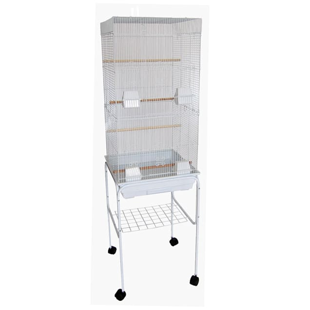 """YML 3/8"""" Bar Spacing Tall Flat Top White Bird Cage With Stand, 18"""" L X 14"""" W X 60 """" H - Carousel image #1"""
