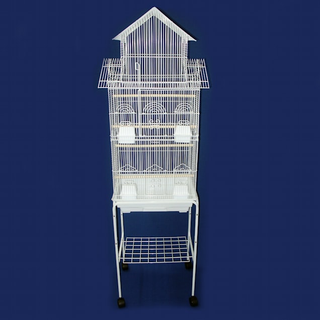 """YML 3/8"""" Bar Spacing Tall Pagoda Top Black Bird Cage With Stand, 18"""" L X 14"""" W X 66"""" H - Carousel image #1"""