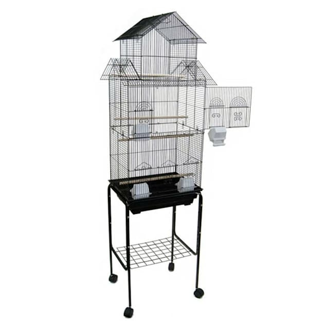 """YML 3/8"""" Bar Spacing Tall Pagoda Top White Bird Cage With Stand, 18"""" L X 14"""" W X 66"""" H - Carousel image #1"""