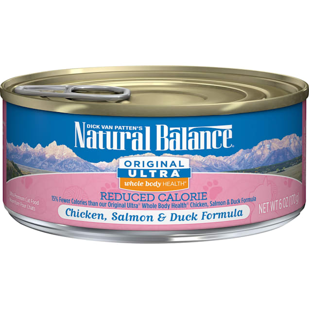 Natural Balance Original Ultra Whole Body Health Reduced Calorie Chicken, Salmon & Duck Formula Wet Cat Food, 6 oz., Case of 24 - Carousel image #1