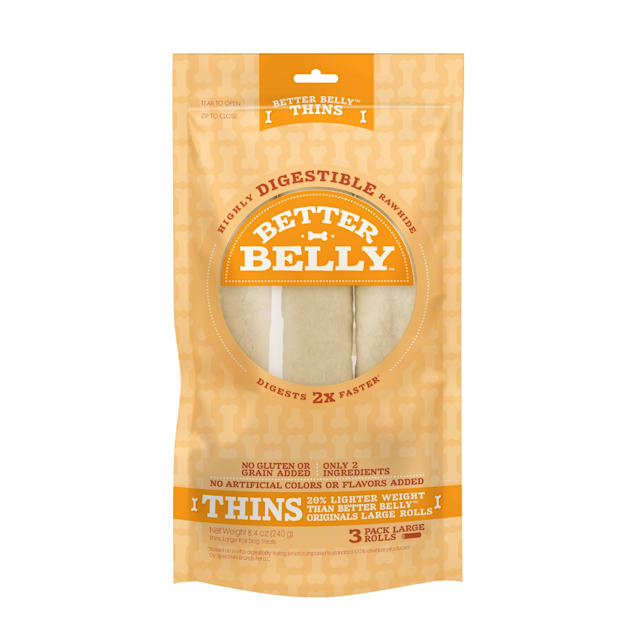 Better Belly Thins Large Roll Chews for Dogs,  8.4 oz.,  Count of 3 - Carousel image #1
