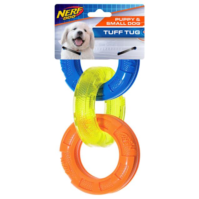 Nerf TPR 3 Ring Tug Blue/Green/Orange Dog Toy, Small - Carousel image #1