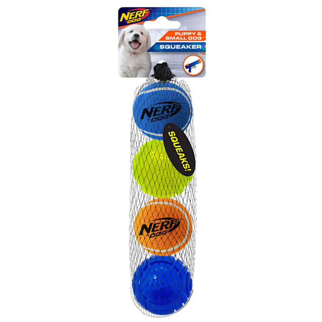 Nerf Squeak Tennis Ball & Translucent TPR Sonic ball Blue, Green and Orange Dog Toy, Small, Pack of 4 - Carousel image #1