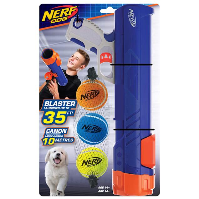 Nerf Gift Set Blaster & Three Squeak Tennis Balls Blue/Orange/Gray and Blue, Green and Orange Dog Toy, Small - Carousel image #1