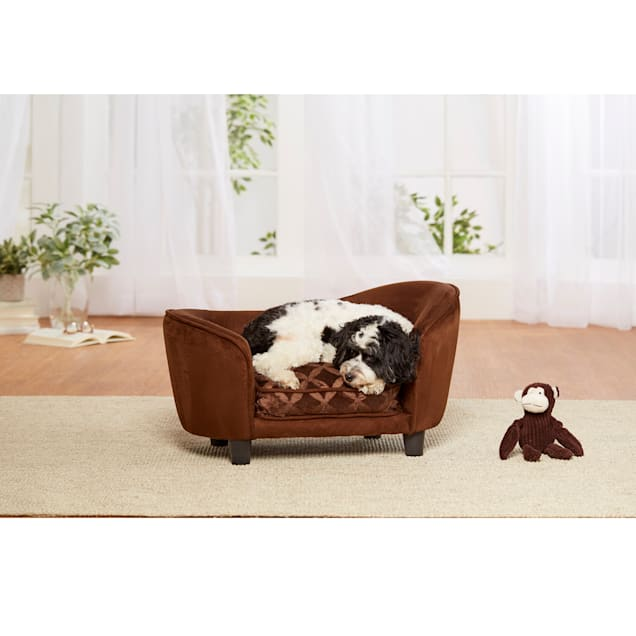 "Enchanted Home Pet Brown Ultra Plush Snuggle Pet Sofa, 27"" L X 15"" W - Carousel image #1"