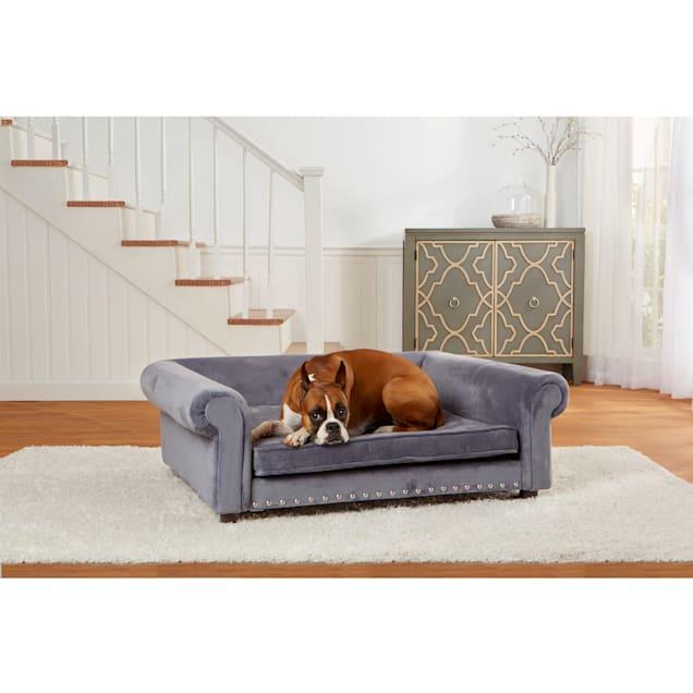 "Enchanted Home Pet Gray Velvet Jackson Pet Sofa, 47"" L x 39"" W - Carousel image #1"