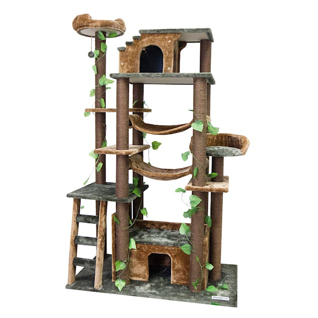 "Kitty Mansions Amazon Green Cat Tree, 78"" H - Carousel image #1"
