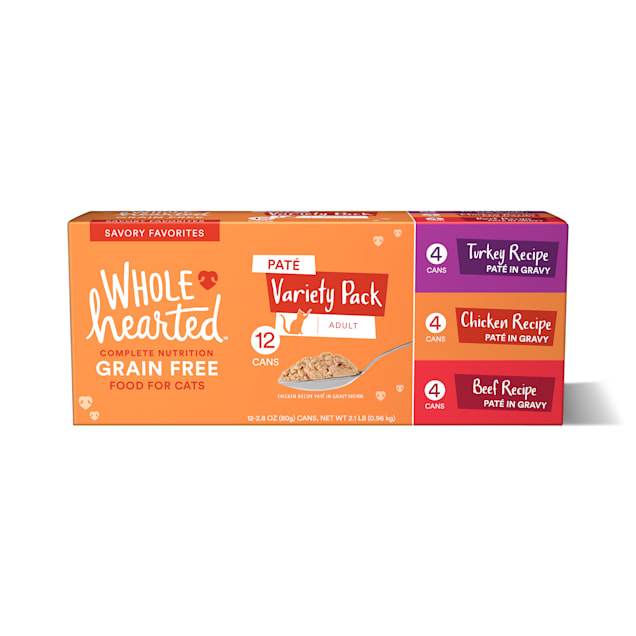 WholeHearted Grain Free Pate Savory Favorites Adult Wet Cat Food Variety Pack, 2.8 oz., Count of 12 - Carousel image #1