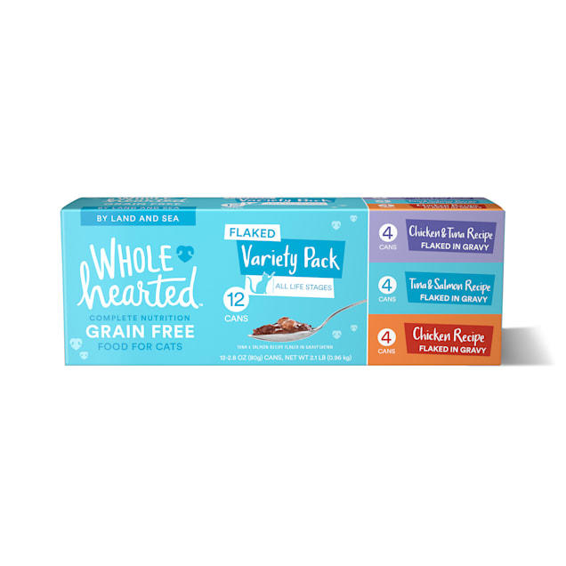 WholeHearted Grain Free By Land and Sea Flaked Wet Cat Food Variety Pack for All Life Stages, 2.8 oz. - Carousel image #1