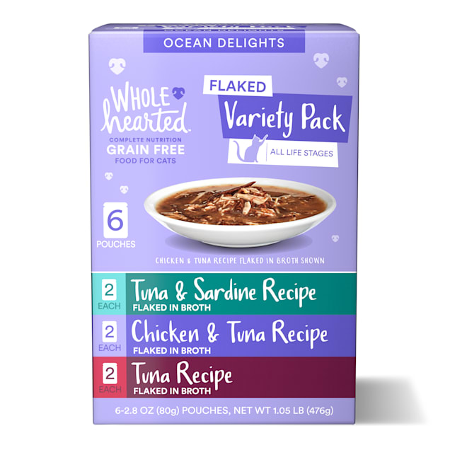 WholeHearted Grain Free Ocean Delights Flaked Wet Cat Food Variety Pack for All Life Stages, 2.8 oz. 6 count - Carousel image #1