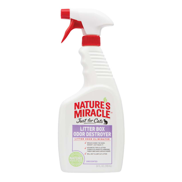 Nature's Miracle Just For Cats Litter Box Odor Destroyer Unscented Spray, 24 fl. oz. - Carousel image #1
