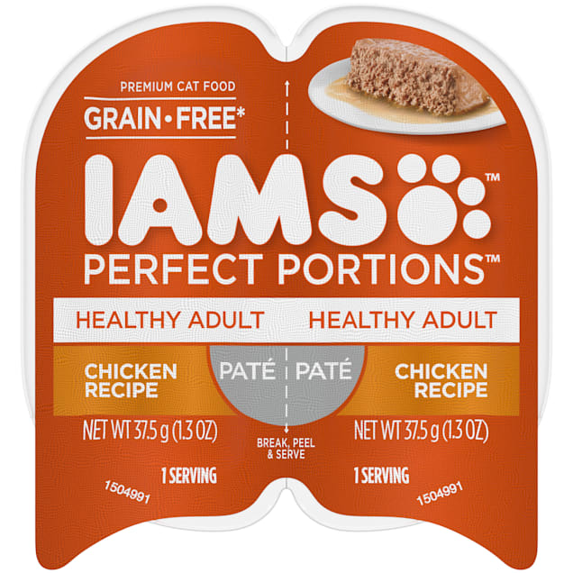 Iams Perfect Portions Grain Free Healthy Chicken Recipe Pate Adult Wet Cat Food, 2.64 oz., Case of 24 - Carousel image #1