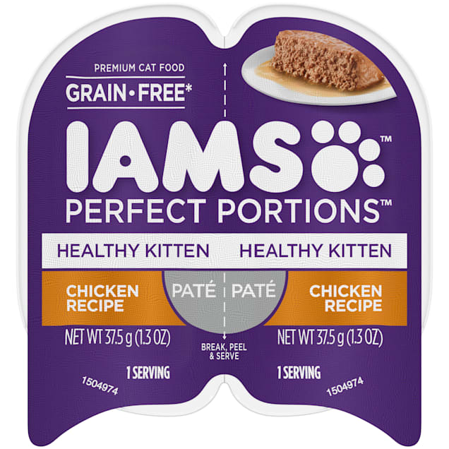 Iams Perfect Portions Grain Free Healthy Kitten Chicken Recipe Pate Adult Wet Food, 2.64 oz., Case of 24 - Carousel image #1