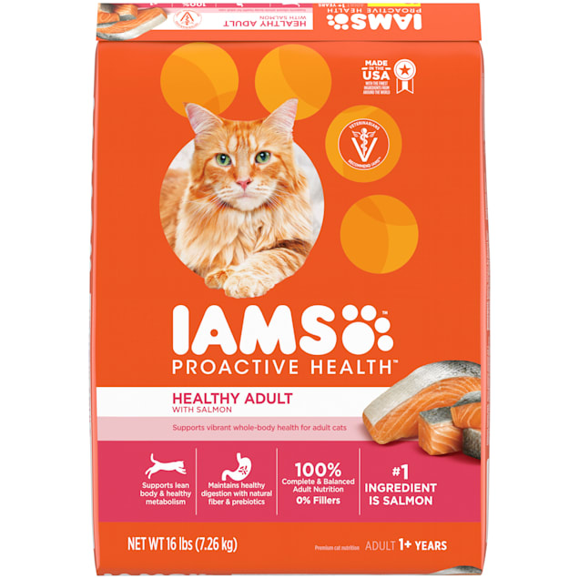 Iams ProActive Health With Salmon Adult Healthy Dry Cat Food, 16 lbs. - Carousel image #1