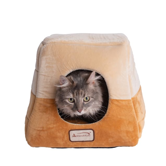 """Armarkat House Cat Bed in Brown and Beige, 14"""" L X 14"""" W - Carousel image #1"""
