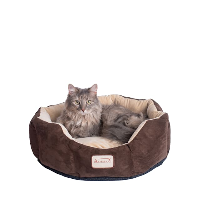 "Armarkat Cozy Cat Bed in Mocha and Beige, 20"" L X 20"" W - Carousel image #1"