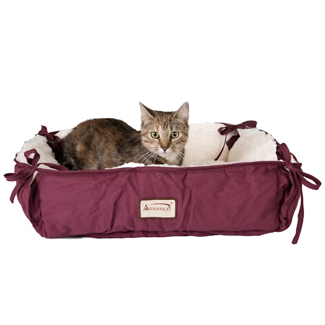 """Armarkat Square Cat Bed in Burgundy, 16"""" L X 16"""" W - Carousel image #1"""