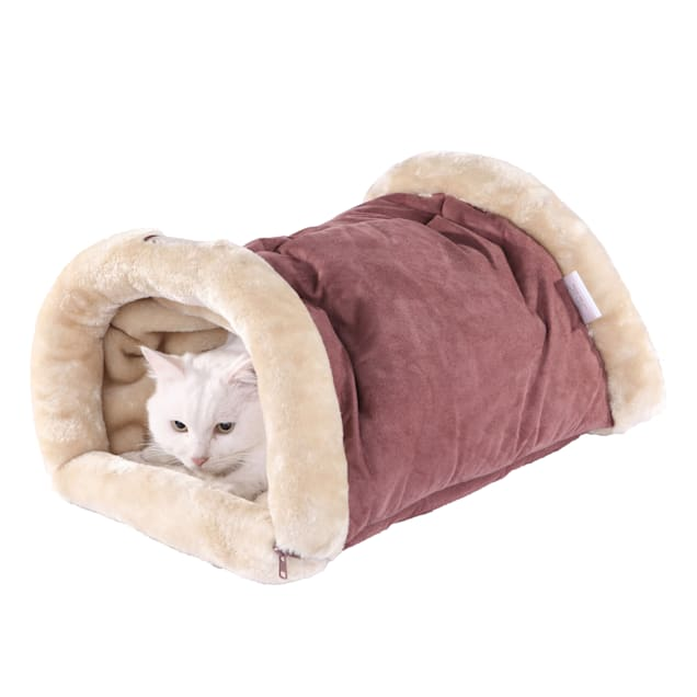 """Armarkat Hideaway Cat Bed in Red and Beige, 22"""" L X 14"""" W - Carousel image #1"""