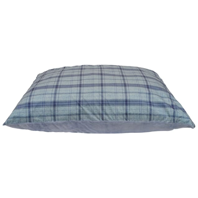 """Dallas Manufacturing Knife Gaint Brushed Plaid Blue Piping Dog Bed, 52"""" L x 42"""" W - Carousel image #1"""