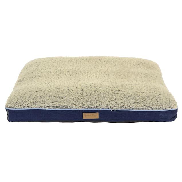 "Dallas Manufacturing Denim Gusset Memory Foam Blue Piping Dog Bed, 30"" L X 40"" W - Carousel image #1"