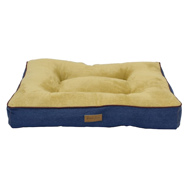 """Dallas Manufacturing Denim Gusset Wine Piping Dog Bed, 36"""" L X 26"""" W - Carousel image #1"""