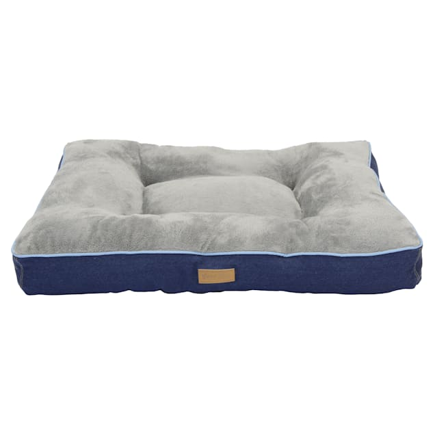 """Dallas Manufacturing Denim Gusset Pillow Blue Piping Dog Bed, 42"""" L X 32"""" W - Carousel image #1"""