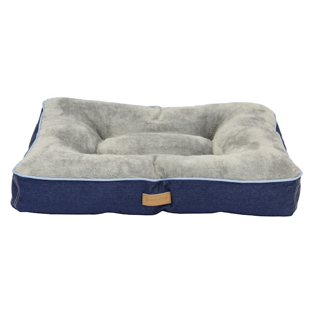 """Dallas Manufacturing Denim Gusset Blue Piping Dog Bed, 36"""" L X 26"""" W - Carousel image #1"""