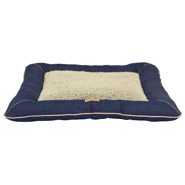 """Dallas Manufacturing Denim Pillow Grey Piping Dog Bed, 36"""" L X 26"""" W - Carousel image #1"""