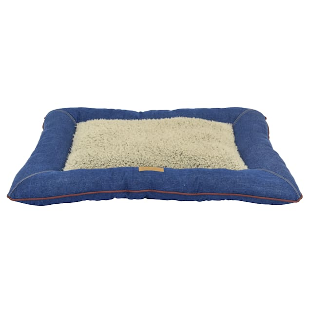 """Dallas Manufacturing Denim Pillow Wine Piping Dog Bed, 36"""" L X 26"""" W - Carousel image #1"""
