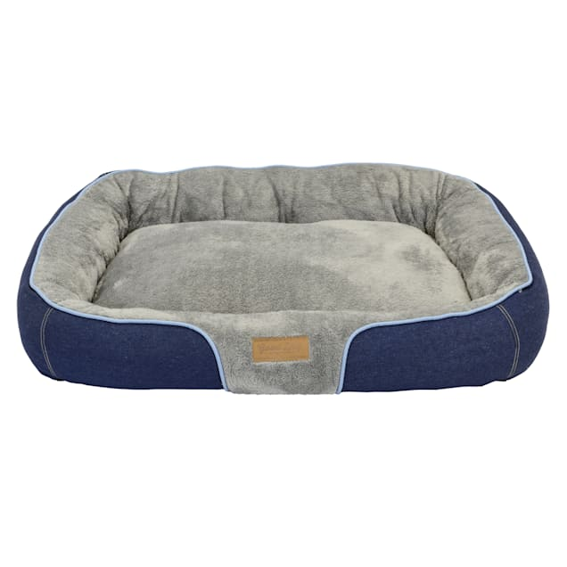 """Dallas Manufacturing Denim Bolster Blue Piping Dog Bed, 34"""" L X 25"""" W - Carousel image #1"""