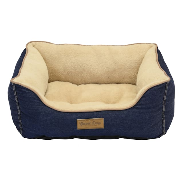 "Dallas Manufacturing Denim Bed Piping Dog Bed, 25"" L X 21"" W - Carousel image #1"