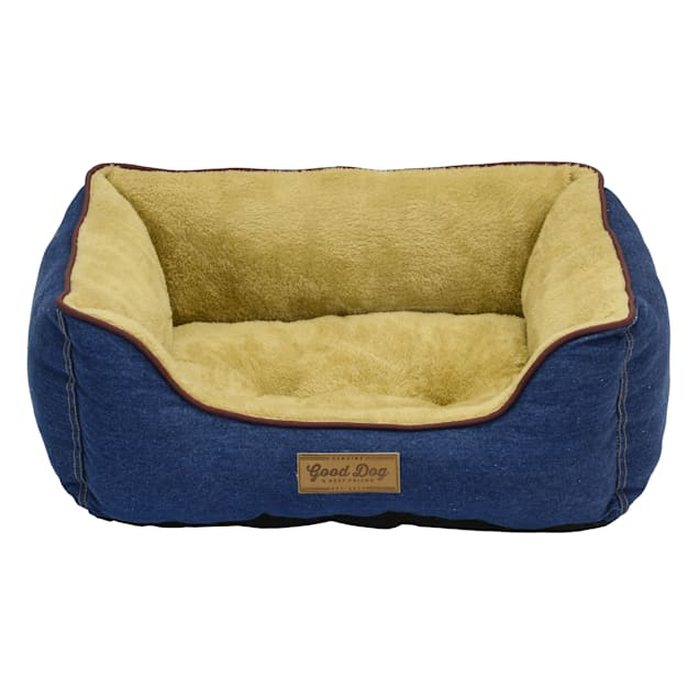 "Dallas Manufacturing Denim Wine Box Piping Dog Bed, 25"" L X 21"" W - Carousel image #1"