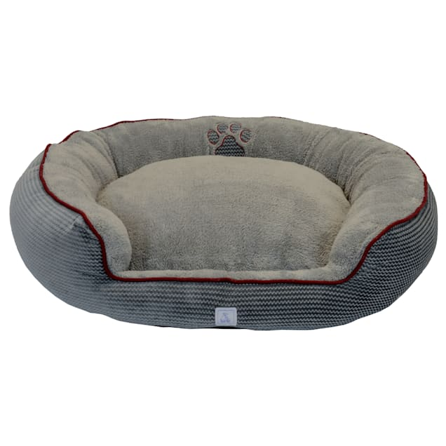 "Dallas Manufacturing ZigZag Gray Bolster Dog Bed, 36"" L X 30"" W - Carousel image #1"