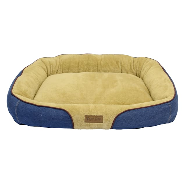 """Dallas Manufacturing Denim Bolster Wine Piping Dog Bed, 34"""" L X 25"""" W - Carousel image #1"""