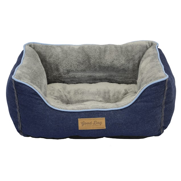 "Dallas Manufacturing Denim Box Blue Piping Dog Bed, 25"" L X 21"" W - Carousel image #1"