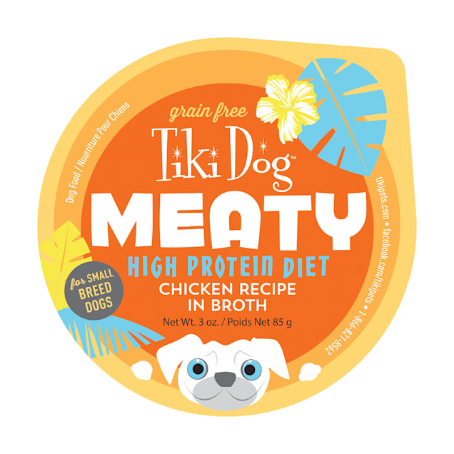 Tiki Dog Meaty High Protein Chicken Recipe in Broth Wet Dog Food, 3 oz. - Carousel image #1