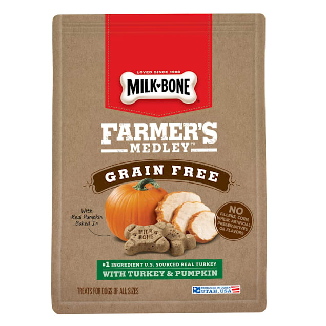 Milk-Bone Farmer's Medley Grain Free With Turkey & Pumpkin Dog Treats, 12 oz. - Carousel image #1