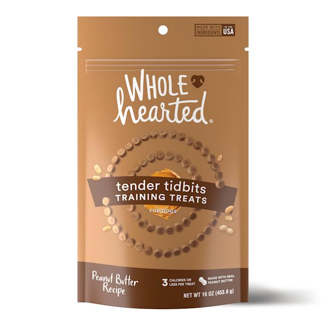 WholeHearted Grain-Free Tender Tidbits Peanut Butter Recipe Dog Training Treats, 16 oz. - Carousel image #1
