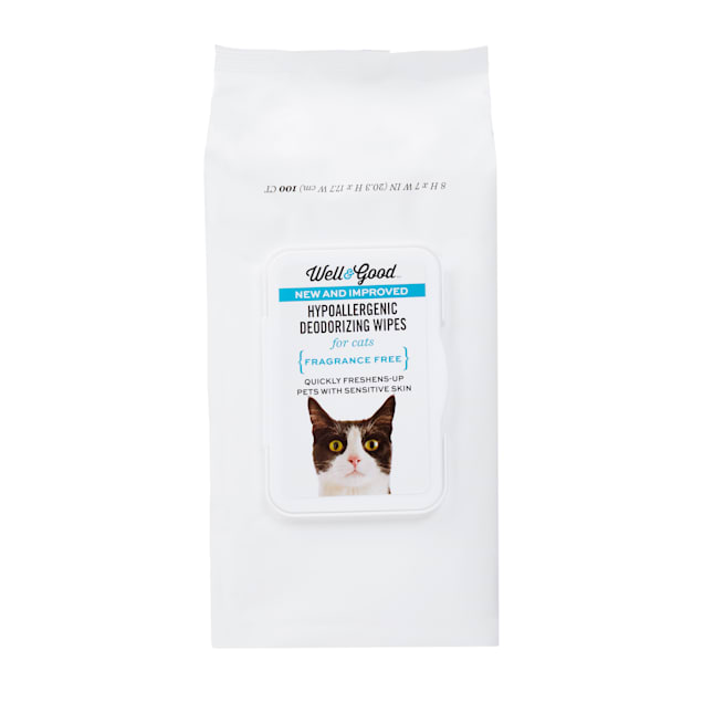 Well & Good Hypoallergenic Deodorizing Cat Wipes, Pack of 100 - Carousel image #1