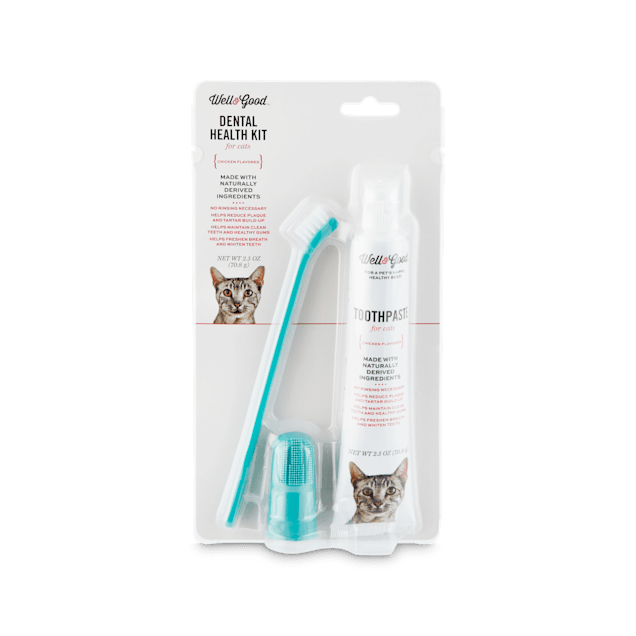 Well & Good Cat Dental Health Kit with Chicken Flavored Toothpaste, 2.5 oz - Carousel image #1