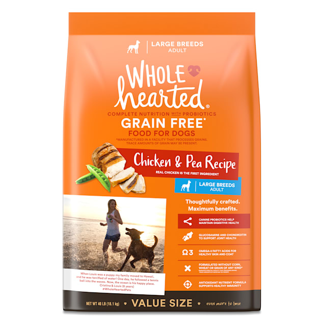 WholeHearted Grain Free Large Breed Chicken and Pea Recipe Adult Dry Dog Food, 40 lbs. - Carousel image #1