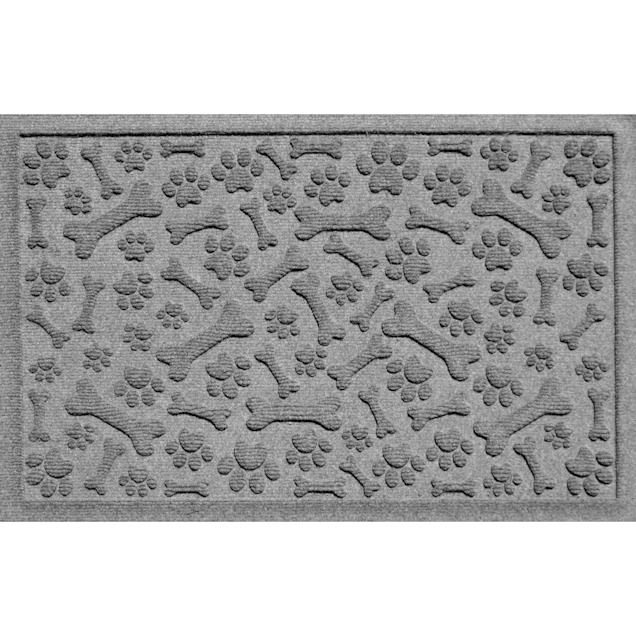 "Bungalow Flooring Paws & Bones Gray Dog Mat, 36"" L x 24"" W - Carousel image #1"