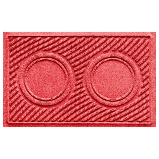 "Bungalow Flooring Red Wave Dog Bowl Mat, 27"" L x 18"" W - Carousel image #1"
