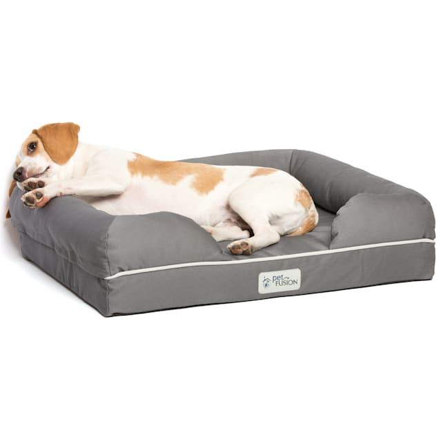 "PetFusion Ultimate Orthopedic Memory Foam Gray Dog Bed & Lounge, 25"" L X 20"" W - Carousel image #1"