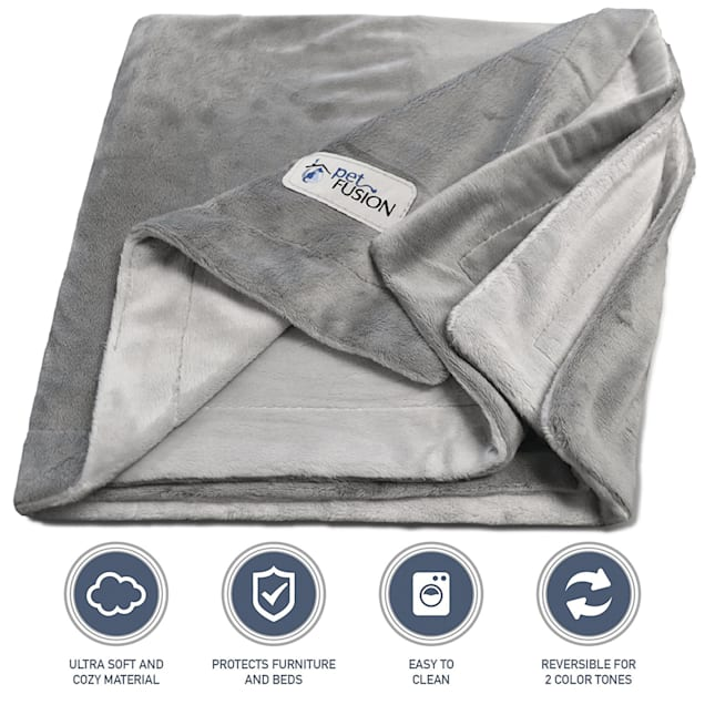 "PetFusion Microplush Pet Gray Blanket, 60"" L X 48"" W - Carousel image #1"