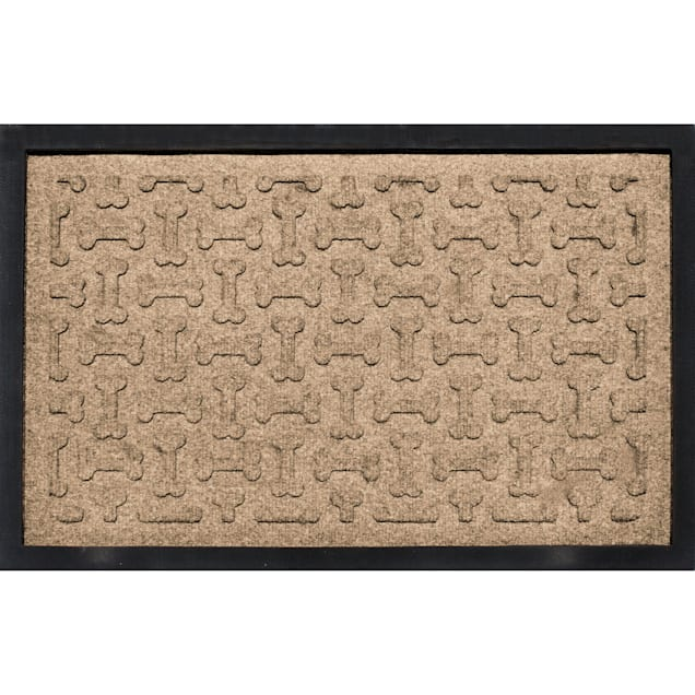"Bungalow Flooring Bone Treats Feeding Tray Khaki Dog Mat 18""x27"" - Carousel image #1"