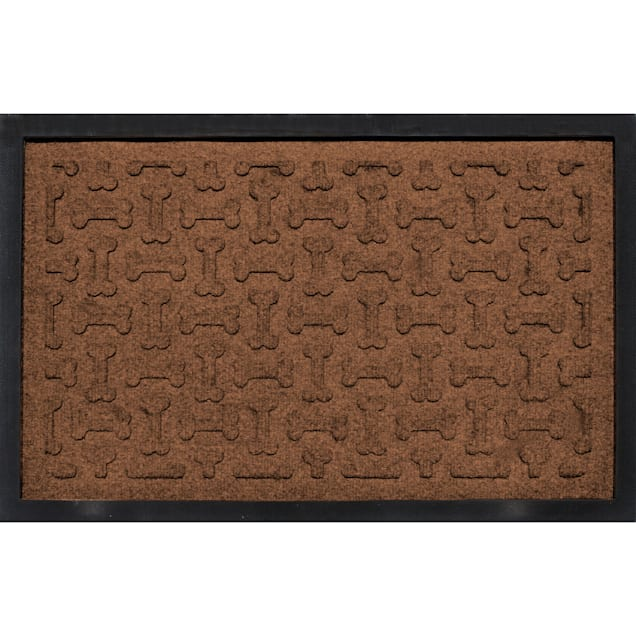 "Bungalow Flooring Bone Treats Feeding Tray Dark Brown Dog Mat, 27"" L x 18"" W - Carousel image #1"