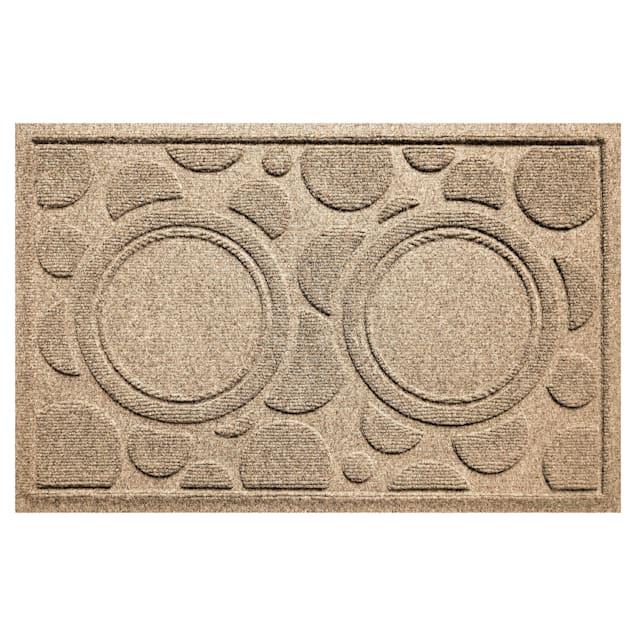 "Bungalow Flooring Bowl Dots Khaki Dog Mat, 27"" L x 18"" W - Carousel image #1"