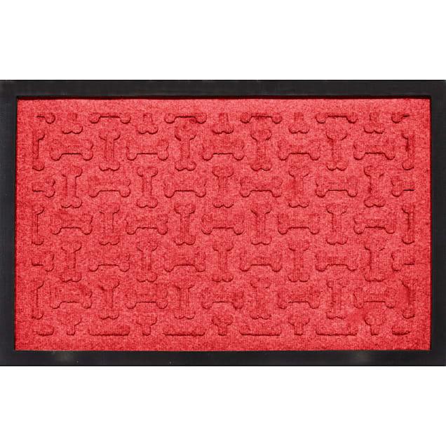 "Bungalow Flooring Bone Treats Feeding Tray Solid Red Dog Mat, 27"" L x 18"" W - Carousel image #1"