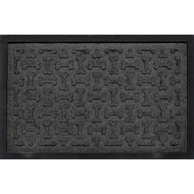 "Bungalow Flooring Bone Treats Feeding Tray Charcoal Dog Mat, 27"" L x 18"" W - Carousel image #1"
